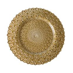 Peacock Pattern - Gold Charger Plate